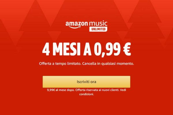 Amazon Music Unlimited in offerta: 4 mesi a 0,99€