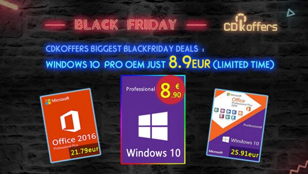 Windows 10 Pro sotto i 9 euro e sconti fino al 28% su Office 2019 con CDKoffers per il Black Friday